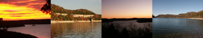 Pictures of Beaver Lake sunset, cliffs, night time sky, clear water